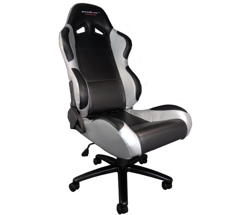 Speedblack seat black silver carbon look silla for Sillas para gamers
