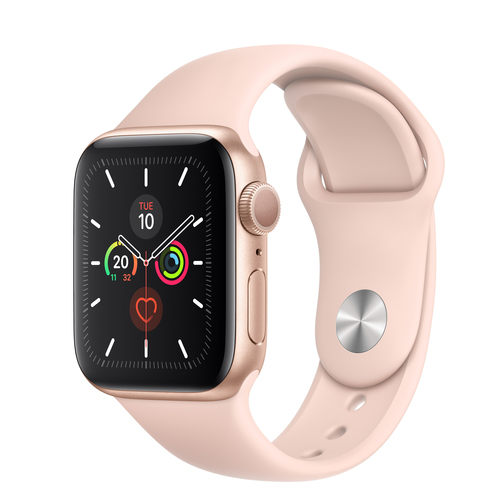 Apple Watch Series 5 GPS 40mm Aluminio Dorado Correa Deportiva Rosa Arena -  Smartwatch